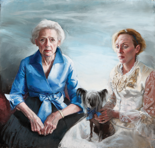 Family Portrait: Mother, Sister and Lacey (pastel, 39 1/2x42 1/2) by Gaela Erwin