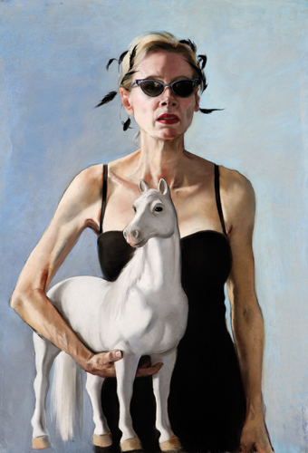 Self-Portrait With Plastic Horse (pastel, 36x24) by Gaela Erwin