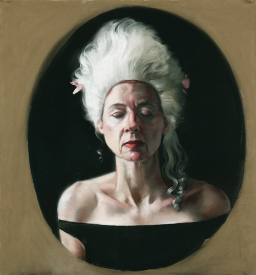 Self-Portrait With Wig (pastel, 26x25) by Gaela Erwin