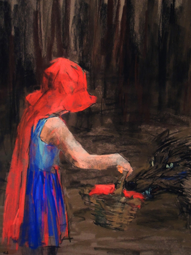 Little Red Riding Hood and the Big Bad Wolf (pastel, 25x18) by Yael Maimon