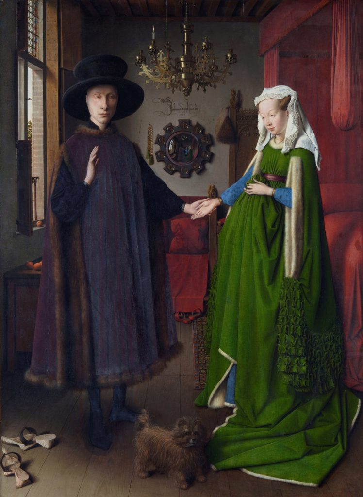The Arnolfini Wedding Portrait by Jan Van Eyck, oil on panel, 1434: The vivid colors in this work are an incredible celebration of what oil painting can do, and the multiple associations and meanings of objects in the work--from the mirror, dog, candle, and cherries on the window sill to the figures' joined hands--give rich symbolism and multiple interpretations to the work.