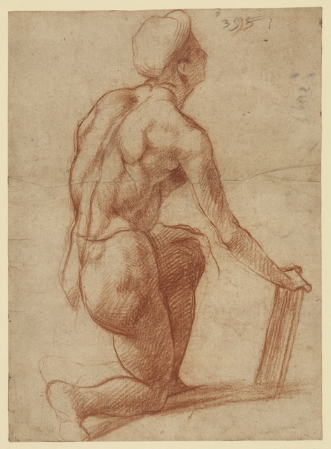 Study of a Kneeling Figure with a Sketch of a Face (recto); Figure Study and Face (verso)