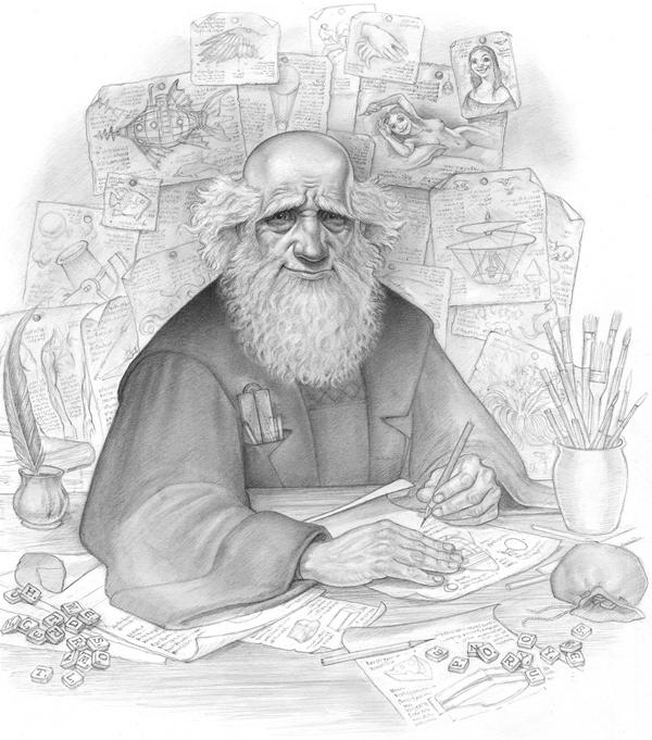 paul kidby fantasy drawing - Leonard of Quirm