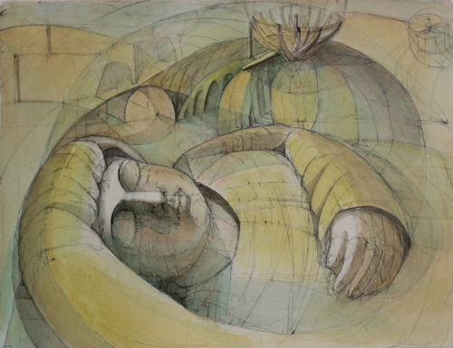 Sleeping Child (watercolor on paper) by Julia Sorrell