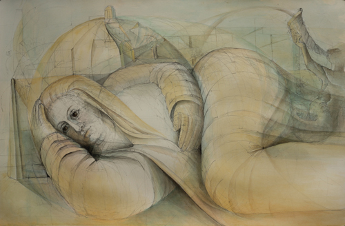 The Muse (watercolor on paper) by Julia Sorrell