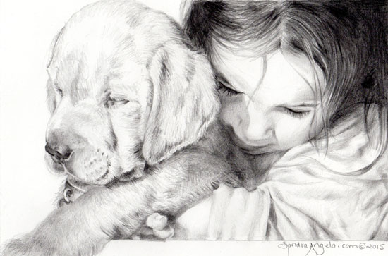 """Puppy Love"" by Sandra Angelo, how to draw portraits from photos 