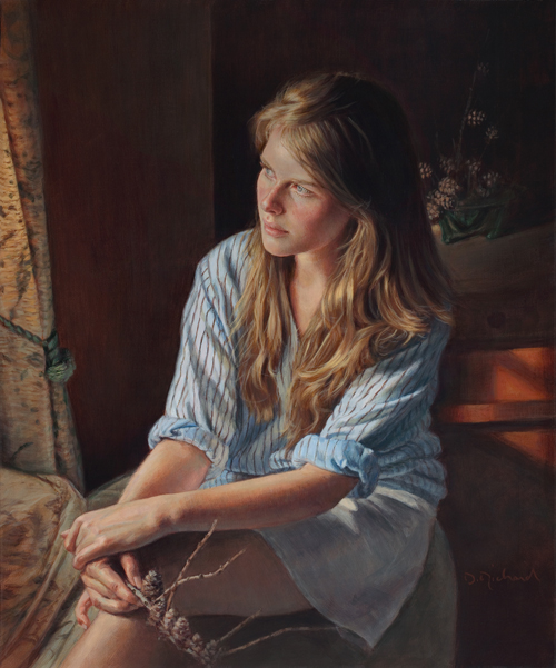 Acrylic painting Danielle Richard 'Attendre la lumière'/His Blue Shirt at artistsnetwork.com