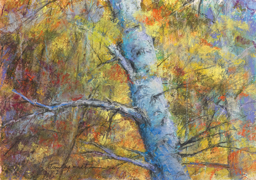 Autumn Birch (pastel) by Stanley Maltzman