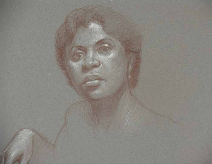 A pencil portrait example showing glow and luster