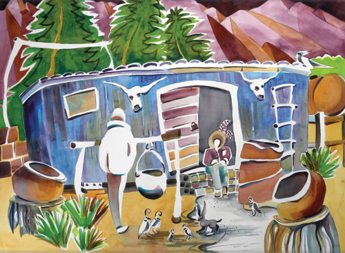 Camp Ranch (watercolor on paper, 22x30) by Nancy E. Caldwell | up-and-coming artists