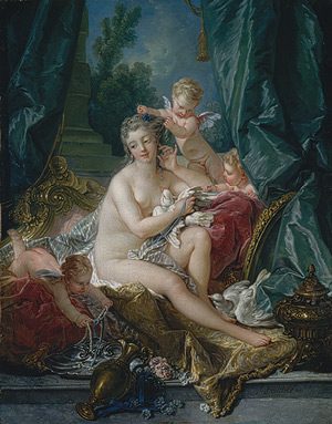 Toilet of Venus by Francois Boucher, 1751, oil, 42 5/8 x 33 1/2. Collection Metropolitan Museum of Art, New York, New York.