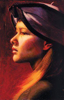 illian by Wende Caporale, 2003, oil portrait painting, 7 x 5.