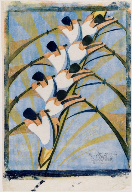 The Eight Cyril E. Power (English, 1872–1951) about 1930 Color linocut * Gift of Johanna and Leslie Garfield Courtesy EB Power & Osborne Samuel Ltd, London * Photograph © Museum of Fine Arts, Boston