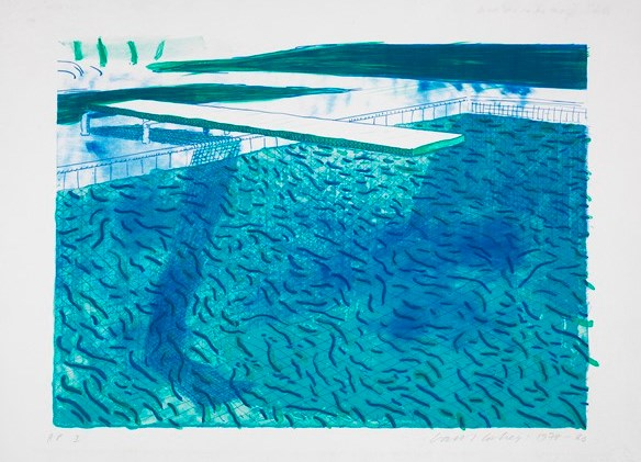 Pool I (Lithograph of Water Made of Thick and Thin Lines, A Green Wash, a Light Blue Wash and a Dark Blue Wash) David Hockney (English, born in 1937) 1978–80 Lithograph in seven colors *Anonymous gift *© David Hockney *Courtesy Museum of Fine Arts, Boston