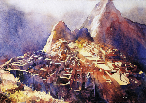 Machu Picchu (watercolor on paper, 15x22) by Ryan Fox | up-and-coming artists