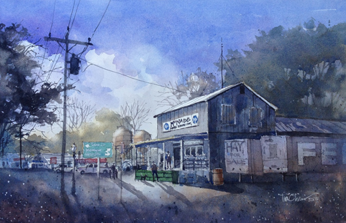 McNabb Feed (watercolor on paper, 10x14) by Tim Oliver | up-and-coming artists