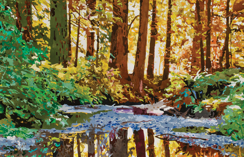 Into the Woods (watercolor on paper, 40x26) by Judy Saltzman | up-and-coming artists