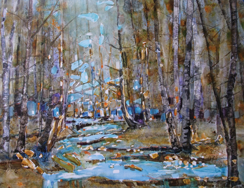 Cedar Creek Park (watercolor on YUPO, 20x26) by Eileen Sudzina | up-and-coming artists