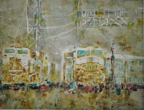 Trains (watercolor on YUPO, 20x26) by Eileen Sudzina | up-and-coming artists