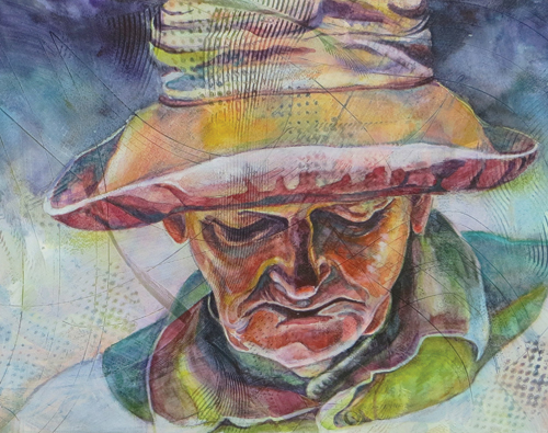 Contemplation (watercolor and gesso on paper, 13x18) by Dorothy Lee | up-and-coming artists