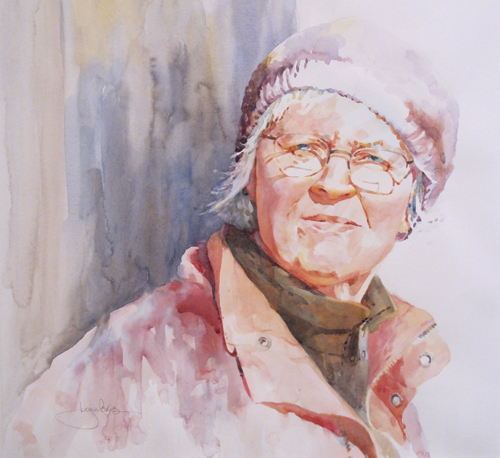 Carol (watercolor on paper, 17x18) by Lynn Powers | up-and-coming artists