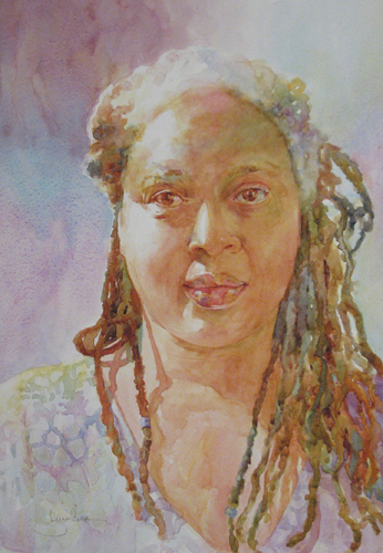 A Woman of Color (watercolor on paper, 20x13) by Lynn Powers | up-and-coming artists