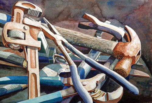Corroded Tools (watercolor on paper, 15x22) by Bonnie L. Catron | up-and-coming artists