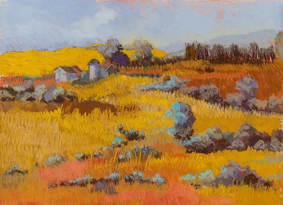 Early Morning Field (pastel) by Audrey Dulmes