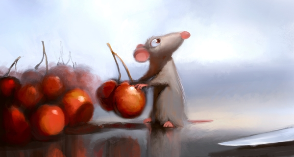 "Robert Kondo, Remy in the Kitchen, ""Ratatouille,"" 2007. Digital painting."