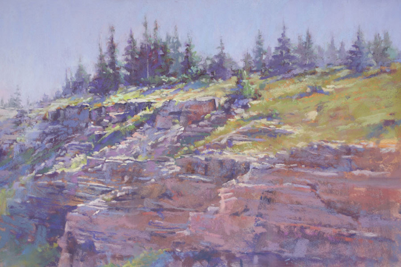 Sunlit Ridge (pastel) by Lynda Conley