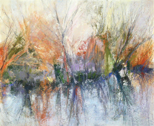 Reflections 2 (pastel on board, 22x27) by Joanne Last | abstract pastel landscapes