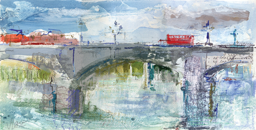 Putney Bridge (pastel and mixed media on paper, 8x16) by Joanne Last | pastel landscapes