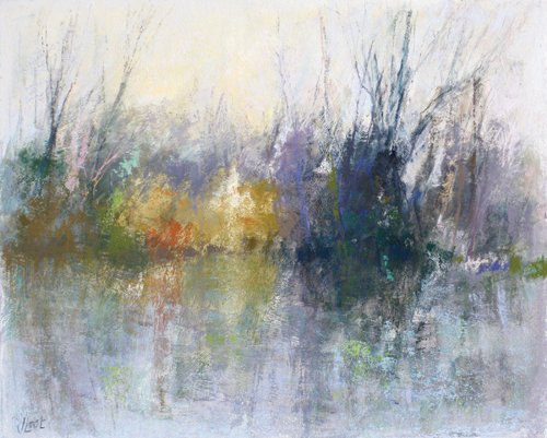 Reflections (pastel on board, 22x27) by Joanne Last | abstract pastel landscapes