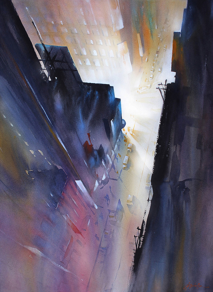 Night In the City—NYC, watercolor by Thomas Schaller