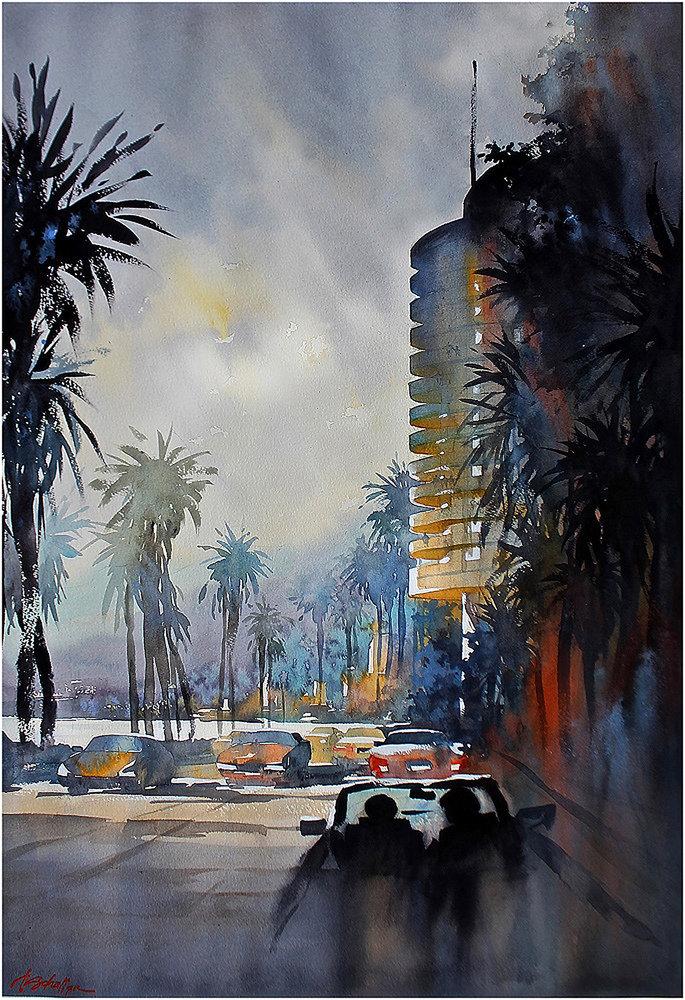 Pacific Coast Highway—Los Angeles, watercolor by Thomas Schaller