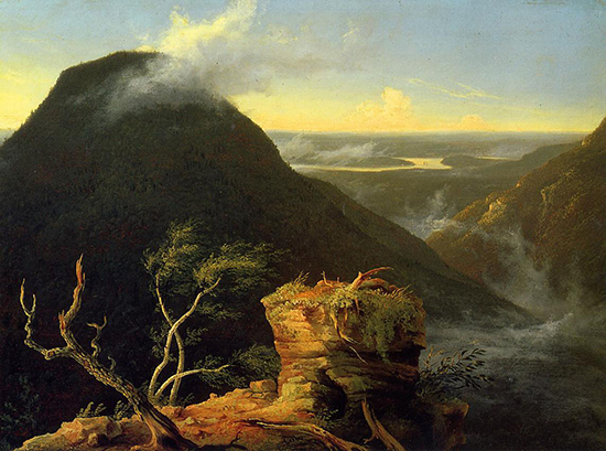Sunny Morning on the Hudson River by Thomas Cole, 1827     Oil painting.