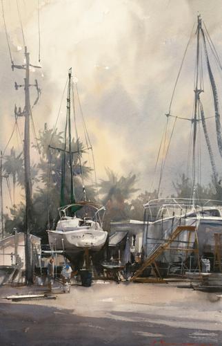 watercolor-landscape-Vladislav-Yeliseyev-Boat-Depot | Artistsnetwork.com