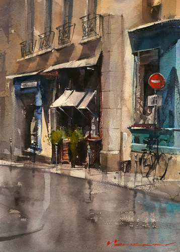watercolor-landscape-Vladislav-Yeliseyev-Paris-Tunes-in-Little-Color | Artistsnetwork.com