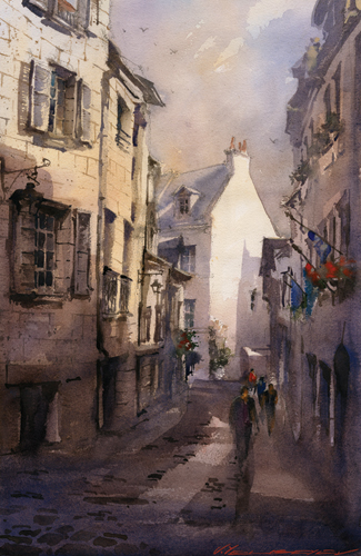 watercolor-landscape-Vladislav-Yeliseyev-Passing-Toulouse | Artistsnetwork.com