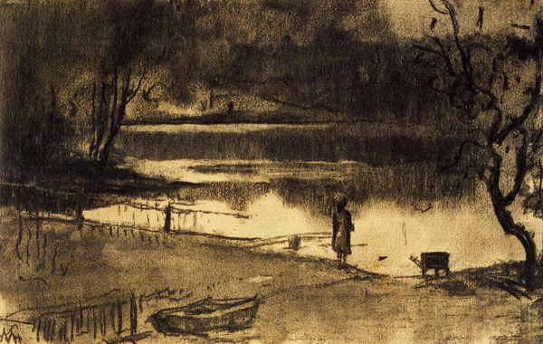Child at Water's Edge by William Morris Hunt, ca. 1877, charcoal on buff wove paper, 9¾ x 15¾.