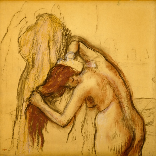 Drawings - Edgar Degas - Woman Drying Herself