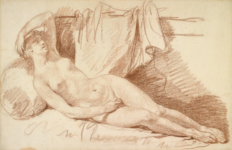 Drawings - Jean Baptiste Greuze - Reclining Female Nude