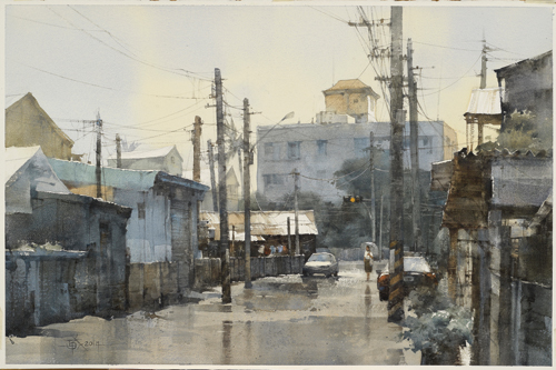 It Rained Just Now (watercolor on paper, 19¼x29½) by Chien Chung-Wei | watercolor art competition