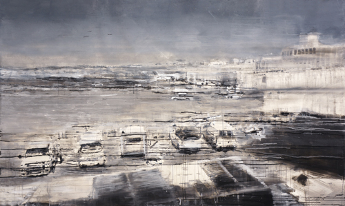 LGA_MSP I (watercolor on paper, 51×86½) by Kathryn Keller Larkins | art competitions