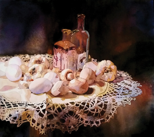 Garlic and Lace (watercolor on paper) by Laurie Goldstein-Warren | watercolor painting