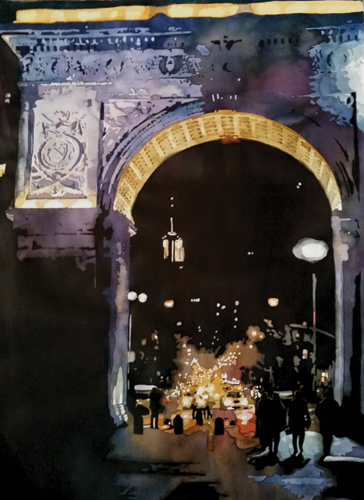 L'Arc de Nuit (watercolor on paper) by Laurie Goldstein-Warren | watercolor painting