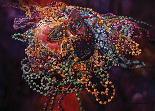 Mardi Gras Beads (watercolor on paper) by Laurie Goldstein-Warren | watercolor-painting