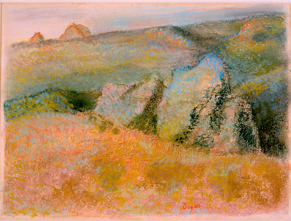 Painting a masterpiece: Landscape with Rocks by Edgar Degas, pastel over monotype