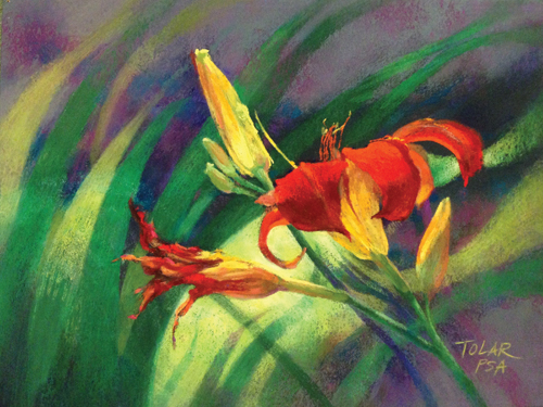 Red-Hot Daylily (pastel, 9x12) by Jude Tolar | pastel florals