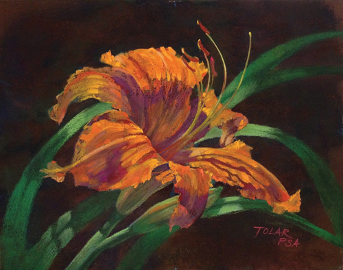 Primal Scream Daylily (pastel, 11x14) by Jude Tolar | pastel florals